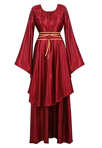 aizen Mittelalter Kleid mit Trompetenärmel Party Kostüm Maxikleid Vintage Retro Renaissance Johanna Night Damen Weinrot S
