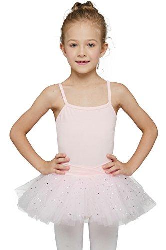 Justaucorps de Danse Classique pour Filles avec Robe Tutu (Rose Ballet, 8-10 Ans)