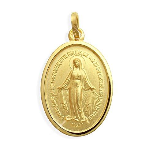 Gold 14 (Viennagold Echt 14 Karat Gold 585 Wundertätige Madonna Immaculata Milagrosa Medaille (213018))