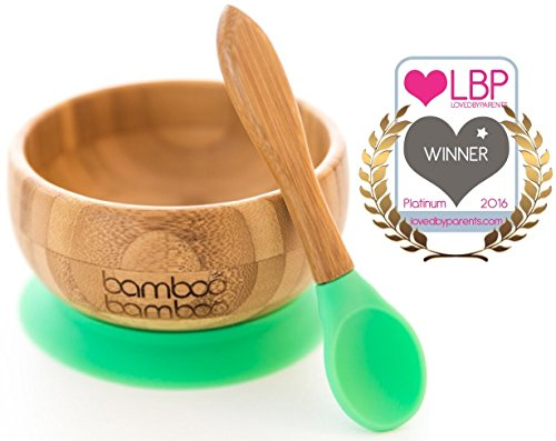 baby-suction-bowl-and-matching-spoon-set-suction-stay-put-feeding-bowl-natural-bamboo-green
