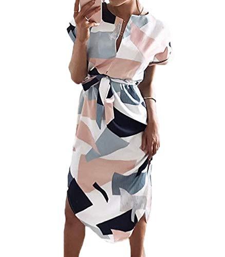 Ajpguot Sommerkleider Damen Kleider Kurzarm V-Ausschnitt Strandkleider Blumen Knielang Kleid mit Gürtel Partykleider Abendkleid (0425 Weiß, 2XL) - Abschlussball Kleider Weiß V-ausschnitt