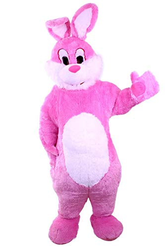 Kleidung zum Feiern Hasen-Kostüm Super Deluxe | Bis Max.1,65m Körperlänge | Großer Bauch | Osterhase | Promotion-Qualität | Mit Kopf | Pink Weiß