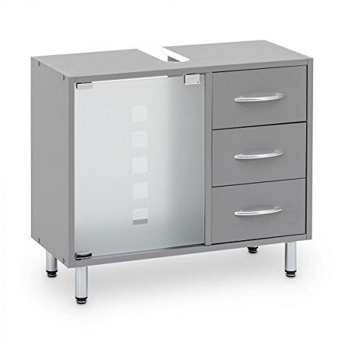 Galdem Waschbeckenunterschrank mit 3 Schubladen Glastür Bad Möbel Badschrank Gäste WC Gästebad Waschtisch Unterschrank Holz Graphite