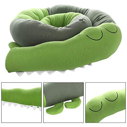 Protector de cama, cojín de cuna, estilo cocodrilo, para cuna, 185 cm de longitud verde Talla:185CM