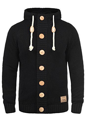 !Solid Peer Herren Strickjacke Cardigan Grobstrick Winter Pullover mit Kapuze, Größe:S, Farbe:Black (9000)