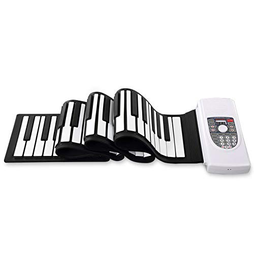 Tragbares 88-Tasten-Handrollenklavier mit elektronischer Tastatur, professionelle Silikonklaviertastatur, 128 Sounds, Doppellautsprecher, Mikrofonzugang,White