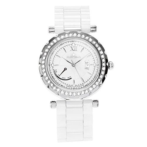 Stella Maris STM15R9 - Reloj pulsera para mujer analogico de cuarzo esfera blanca brazalete de ceramica blanco con diamantes
