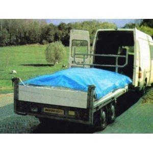 MASTERP Anhänger-Abdeckplane, blau, 3,15 x 1,65m, Ösenabstand 30cm, verstärkte Ecken, ca. 240g/m2