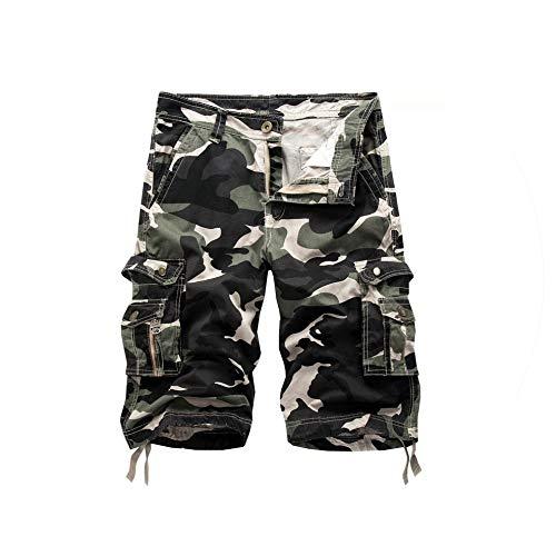 Camouflage Cargo Shorts Men Summer Camo Casual Mens Shorts Cotton Outdoor Men Short Pants,Green Camouflage,31 (Cargo Stone Short Camo)