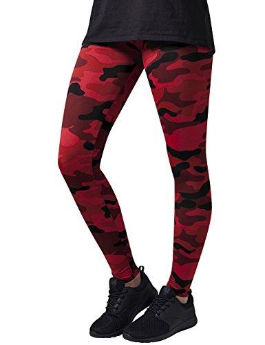 Urban Classics Damen und Mädchen Camo Leggings, lange Camouflage Sporthose für Frauen, Yogahose, red camo, S
