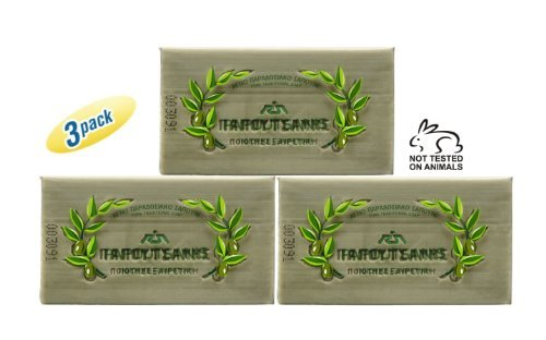 Papoutsanis Pure Olive Oil Bar Soap 3x125g (3x4.4oz) by Papoutsanis (Soap Bar Olive)