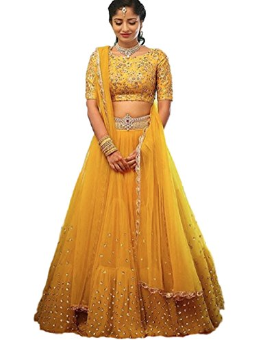 Karma Fashion Women's Net Lehenga Choli (Kfl029_Yellow_Free Size)