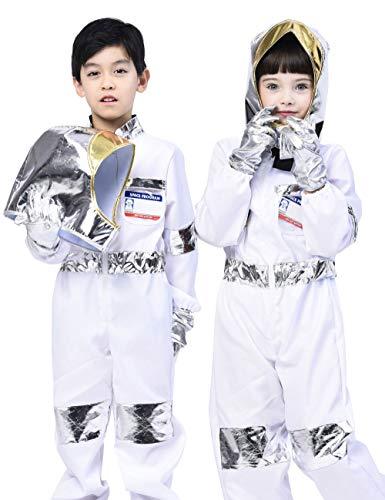 IKALI Kinder Astronaut Kostüm, Unisex Space Jumpsuit Pretend Play Outfit (5 Stück) 4-6 Jahre
