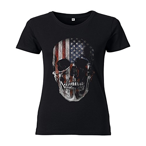 ShirtWorld Totenkopf USA - Damen T-Shirt Schwarz