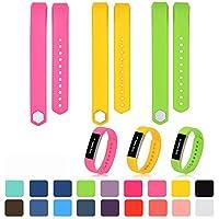 Bandas para Fitbit alta/alta HR, accesorio para Fitbit alta/alta HR hebilla de metal de diseño colorido de repuesto, bandas de reloj con protectores libres de pantalla y cierre de metal ajustable (selección de 18 colores), de iFeeker, color Pink + Yellow + Lime, tamaño Small