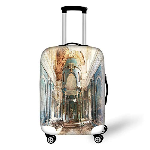 Travel Luggage Cover Suitcase Protector,Antique Decor,Old Ancient Abandoned Renaissance Era Architecture with Columns Artwork Print,White and Blue,for Travel Era-stitch