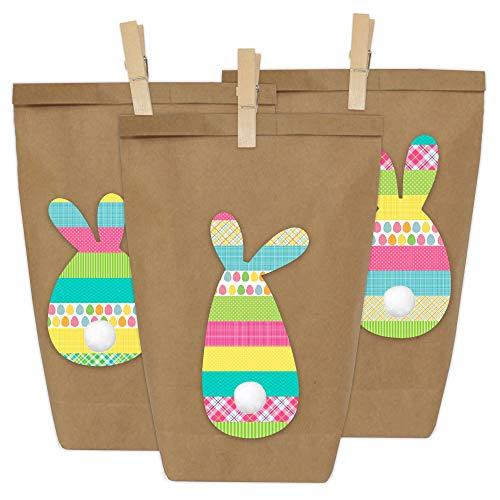 Papierdrachen 12 Osternester zum Befüllen mit Osterhasen in kräftigen Farben - Washi Tape Style - Ostergeschenke für Kinder