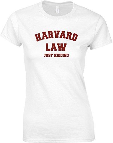 Harvard Law, Just Kidding, Gedruckt Frauen T-Shirt - Weiß/Burgundy S = 78-81cm (Barack Obama Weißes T-shirt)