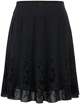 ZhiYuanAN Mujer Falda Plisada Chic 3D Estampadas Faldas Largas Con Volantes Salvaje Casual Talla Grande A Línea...