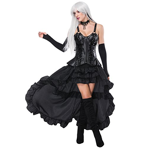 (FeelinGirl Damen Korsagekleid Steampunk Gothic Kostüm Magic Mistress Hexenkostüm Teufelchen Halloween Cosplay Priatbraut)