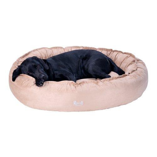 Hundebett beige Wild-Leder/Microfaser nachfüllbar   Größe M: 100 x 80 cm   abnehmbarer Bezug, Hundebett waschbar bei 40°C, exklusive Füllung, Hundekorb Hunde-Liegeplatz Hundesofa, kuschelig