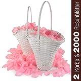 WeedingTree 2 cestas de flores para bodacon petalos de rosa en color rosa - 2000 pétalos de rosa para bodas, día de San Valentín, cumpleaños, y decoración de fiestas