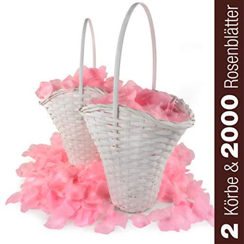 WeedingTree 2 cestas de flores para bodas con petalos de rosa en color rosa - 2000 pétalos de rosa para bodas, día de San Valentín, cumpleaños, y decoración de fiestas