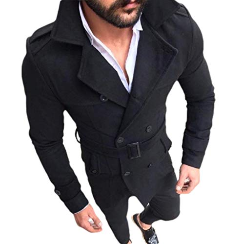 CuteRose Mens Regular Fit Double-Breasted Lapel Belted Overcoat Trench Coat Black M Breasted Belted Wool Coat