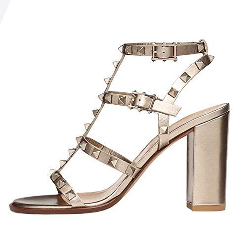 EKS Damenmode Sandalen mit Block Heels und Nieten Gold Matt 250mm Matt Cup