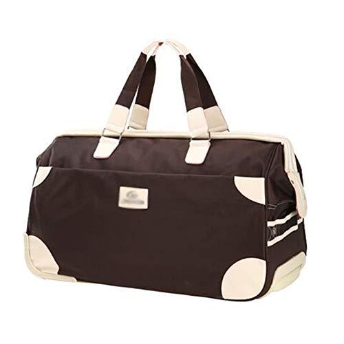XJY Valigia Media Trolley Viaggi Wheeled Duffle Bag Pernottamento Ruote Laptop Cassa dei Bagagli Bag 2 Ruote (Color : Brown, Size : 56 * 28 * 36cm)