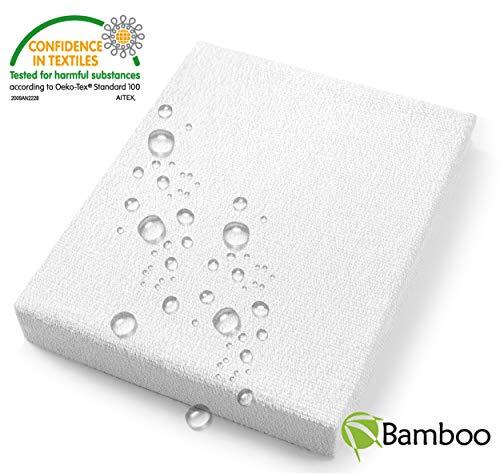 JUNIO Matratzenschoner 70x140 baby Wasserdichter BAMBUS matratzenschutz wasserdicht, Matratzenschoner für Kinder Atmungsaktiv Spannbettlaken Bamboo Matratzenbezug wasserdicht - 70% Bambus