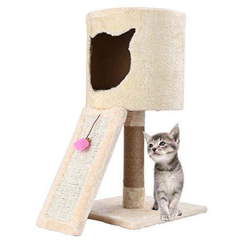 kratzbaum für katzen deckenhoch,OUTAD Katzen Kletterbaum Samt Abdeckmaterial katzenbett mit Höhle,Katzen-Kletterwand verdickte Säule Druchmesser Spielzeug für Große klein katze (Höhe 25.59inch)