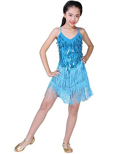Astage Mädchen Quaste Kleid Kinder Latin Active Wear Kinder Salsa Ballroom Dress Himmelblau 120