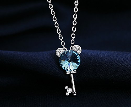 Silver Swarovski Elements Crystal Diamond Accent Key Pendant Chain Necklace for women teenage girls kids children, with a Gift Box, Ideal Gift for Birthdays / Christmas / Wedding—Sea Blue ,Model: X16877