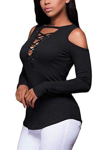T-Shirt Estivi Donna V Profondo Senza Spalline Top Manica Lunga Camicetta Con Lacci Elasticità Maglietta Moda Eleganti Slim Blusa Di Base Camicia Partito Tops Blusen Nero