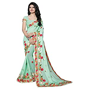 Fab Valley Chiffon Latest Designer Embroidery Saree With Blouse Piece For Women (FAB-1060-S_Green_Free Size)