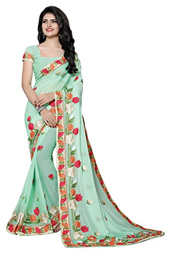 Fab Valley Chiffon Saree With Blouse Piece (FAB-1060-S_Green_Free Size)