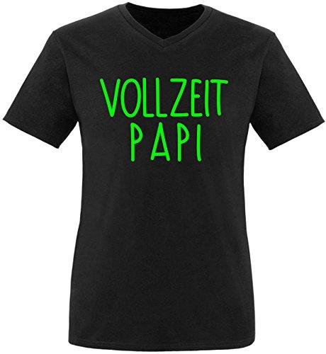 EZYshirt® Vollzeit Papi Herren V-Neck T-Shirt Schwarz/Neongrün