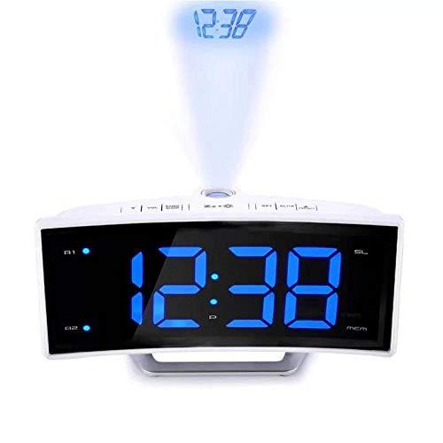 Zxhh Radiowecker Led Projektionsspiegel Elektronische Uhr Leuchtend Doppelring Wecker Weiße Muschel Blaulicht -