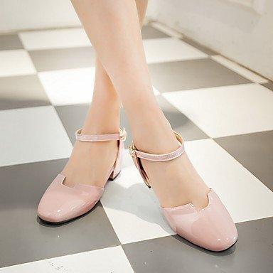 NVXZD Da donna-Sandali-Ufficio e lavoro Formale Casual-Comoda Scarpe Flower Girl Tacchi Piccoli per adolescenti-Quadrato Heel di blocco-Vernice- Il beige