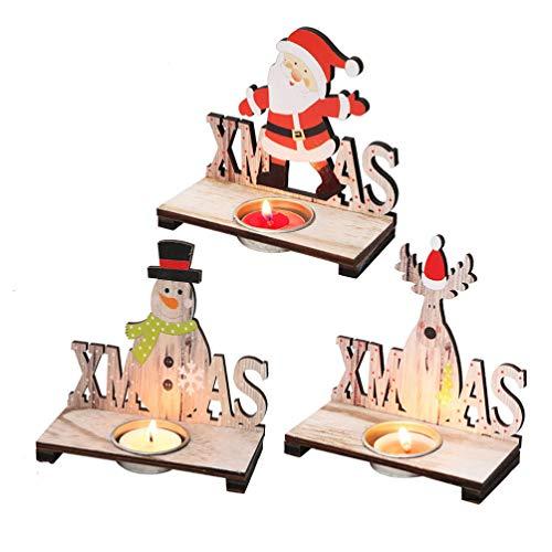 Amosfun 3pcs Weihnachten Teelicht Kerzenhalter Weihnachten Holz Kerzenhalter Santa Schneemann Rentier Dekoration Weihnachten Tischdekoration