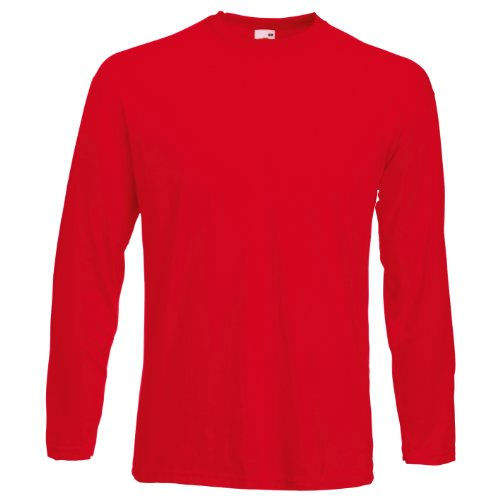 Fleece Langarm-polo-shirt (Fruit of the LoomHerren T-Shirt Rot Rot)
