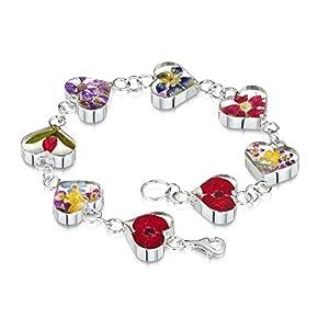 Shrieking Violet: Damen-Gliederarmband – echte Blüten-Charms – 925 Sterling Silber – 180 mm