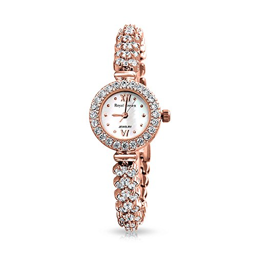 bling-jewelry-rose-gold-plated-chevron-cz-cluster-round-watch-steel-back