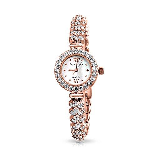 bling-jewelry-rose-placcato-oro-chevron-cz-cluster-round-guardare-indietro-in-acciaio