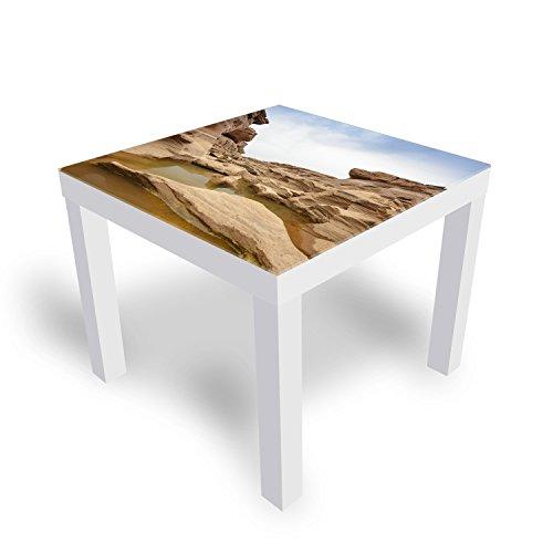 DekoGlas IKEA Lack Beistelltisch Couchtisch \'Naturstein\' Sofatisch mit Motiv Glasplatte Kaffee-Tisch, 55x55x45 cm Weiß