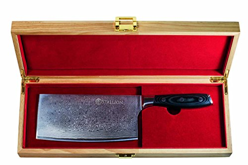 Stallion Damastmesser Wave Chinesisches Kochmesser - Messer aus Damaststahl in Edler Geschenkbox - das ideale Geschenk für alle Freunde schöner Messer