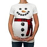 MCYs Damen Schneemann Umstandsmode Schwangere Maternity Weihnachtsschneemann Karikatur T-Shirt Kleidung Schwangerschaft