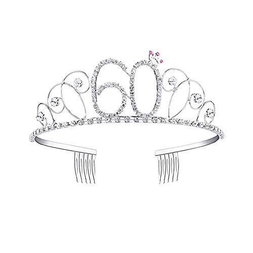 Kbsin212 Tiara Plateada Cristales Diademas Corona