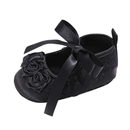 Babyschuhe Jamicy® Baby Jungen Mädchen Bowknot Schuhe Sneaker Anti-Rutsch Soft Sole Kleinkind Sneakers (0 ~ 6 Monate, Lila) Schwarz